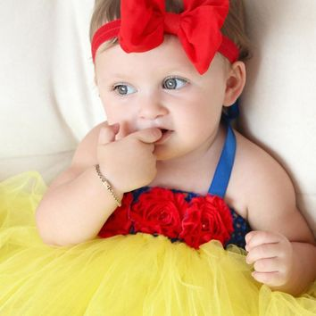 0-4Y Baby Tutu Dress Toddler Infant Princess Cosplay Snow White Costume 1 Year Birthday Dress Wedding Party Baby Dress Vestidos
