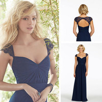 Sweetheart Long Dark Navy Lace Cap Sleeve Bridesmaid Dresses 2015 Sexy Backless Floor Length Party Gown Prom Dresses