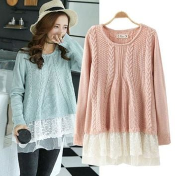 VLX2WL Winter Korean Lace Patchwork Long Sleeve Pullover Sweater [9584886922]