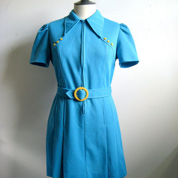 Vintage 1960s Dress Sporty Mini Sky Blue Yellow Daytime Dress 40 US8