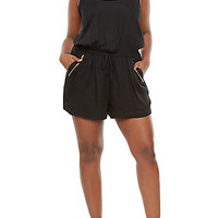 Plus Size Drawstring Romper with Gold Zipper Accents