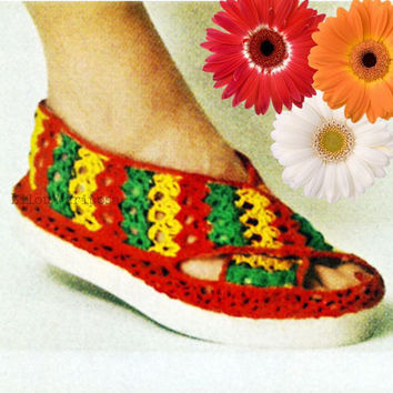 CROCHET SLIPPERS PATTERN Vintage 70s Crochet Sandals Pattern Crochet Beach Shoe Crochet Flip Flop Pattern