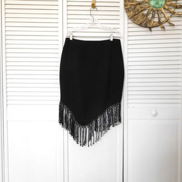 Black Fringed Skirt Uneven Hem High Low Hem Asymmetrical Fringe Josephine Chaus Size 14P Vintage Clothes