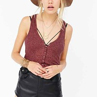 Project Social T Ribbed Snap-Front Henley Tank Top-
