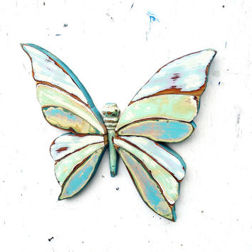 Turquoise Butterfly, Wooden Wall Art, Boho Wall Decor, Butterfly Wall Art, Bohemian Decor, Wood Butterfly, Nursery Decor, Wooden Butterfly