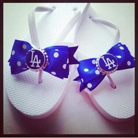 Los Angeles Dodgers sandals from Bowlicious Divas Bowtique
