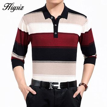 High Quality Cashmere Wool Sweater Men Famous Clothing  Business Fashion Striped Turn-down Collar Pullover Home