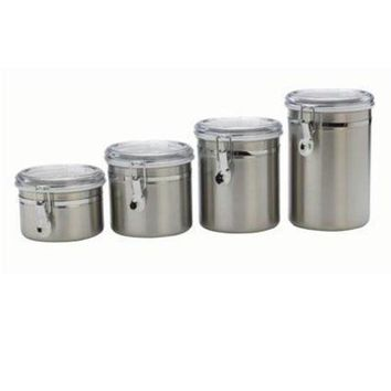 ONETOW Ss Canister Set W/ Clear Lids