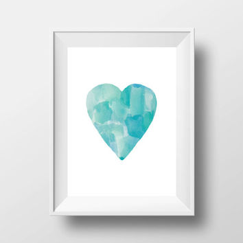 Watercolor heart,Printable art,Love art,Bedroom art,Home decor,Home warming,Valentines gift,Inspirational art
