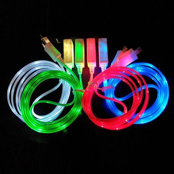 1M Colorful LED Light Luminous Phone Charger Charging Data Sync Transfer Line Cord Cable Wire for Android Phone Micro USB