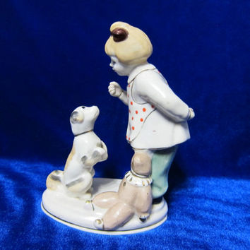 VINTAGE Porcelain Figurine Soviet Girl and dog and teddy bear Polonsky ZHK 1970