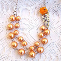 Peach Pearl Necklace, Vintage Style, Bridesmaid Necklace, Two strand pearl, Wedding Jewelry, Leaf Necklace, Flower Necklace, Orange Flower