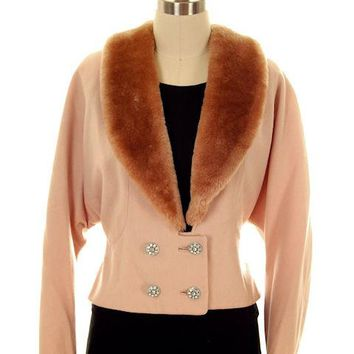Vintage Ladies Jacket Peach Wool w. Mouton Shawl Collar  Late1940s Large