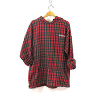 Vintage red Plaid Flannel hoodie / drawstring Shirt jacket / red Minnesota shirt coat / XXL