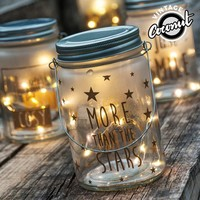 Vintage Coconut Glass Jar with LED Lights