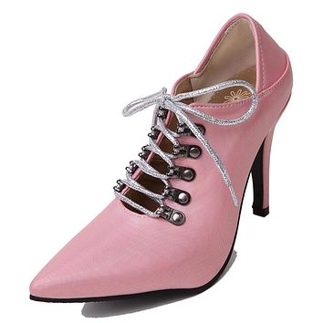 Pointed Toe Lace Up High Heels for Women 3370