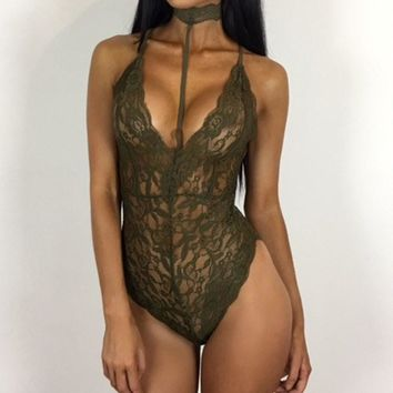 Lace Crochet Bodysuits 2018 Summer Sexy Rompers Womens Jumpsuit Halter Neck See Through Backless Hollow Out Playsuit