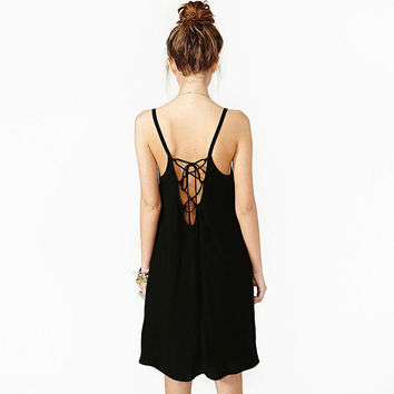 Black Halter Strappy Backless Chiffon Mini Dress - Black