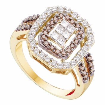14kt Yellow Gold Womens Round Cognac-brown Color Enhanced Diamond Rectangle Cluster Ring 3/4 Cttw