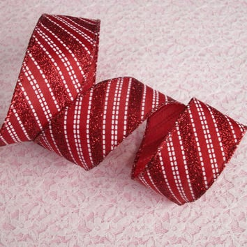 "Red and White Christmas Ribbon, 1 1/2"" Wide, Wired Edge, Baskets, Bows, Wreaths, Holiday Home Decor, Ribbon Decorations, 5 YARDS"