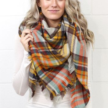 Cozy Plaid Blanket Scarf {Gold/Rust Mix}