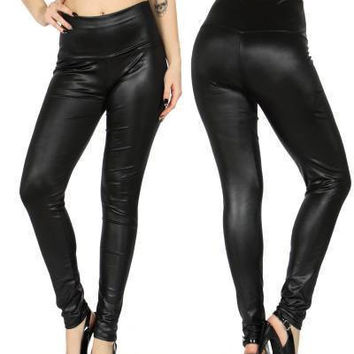 Black High Waisted Pleather Leggings in S/M and L/XL