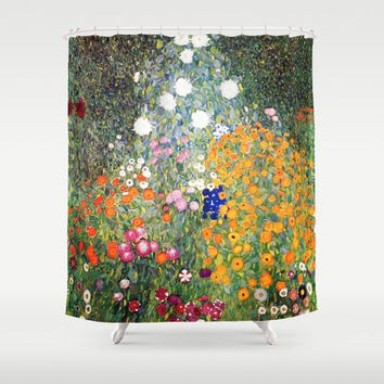 Gustav Klimt Flower Garden Shower Curtain, Romantic Home Decor, Fantasy Bathroom Decor Floral