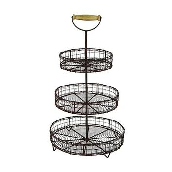 3-Tier Wire Basket Caddy with Wood Handle