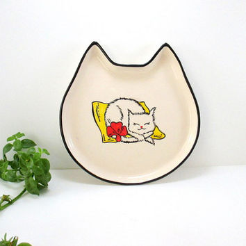 Ceramic plate, ceramic cat plate, ceramics plates, pottery plate, handmade plate, serving plate, cats, handmade plates, cat plate, 1 piece