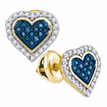 10kt Yellow Gold Womens Round Blue Color Enhanced Diamond Heart Love Stud Screwback Earrings 1/4 Cttw
