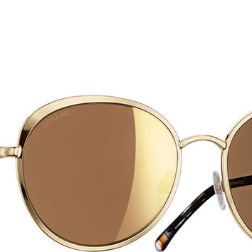 Chanel Sunglasses Gold Round Signature | Online Boutique