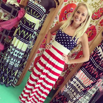 American flag maxi, maxi dress, land of the free, land of the free dress, god bless American, boutique july fourth clothing, star dress, july fourth dresses, july fourth maxi, 4th of july dress, 4th of july outfit::frogstones