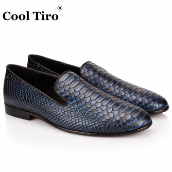 COOL TIRO Men Shoes luxury Brand Blue serpentine Loafers