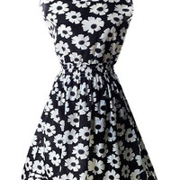Black Elastic Waist Sleeveless Floral Dress