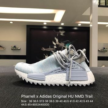 Pharrell x Adidas Original HU Human Race Tr HU NMD Gray White  AC7058 Sport Running Shoes