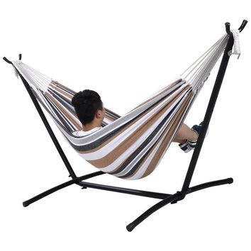 Double Hammock With Space Saving Steel Stand Includes Portable Carry Bag