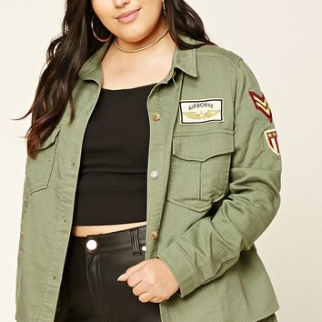 Plus Size Patch Utility Jacket