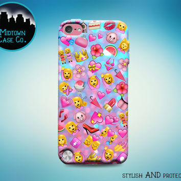 Pink Emoji Pattern Collage All the Pink Emoticons Cute Pretty Sassy Girl Awesome Cool Fun Rubber Case for iPod Touch 6th Generation 5th Gen
