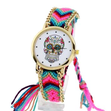 Gnova platinum Watch Women vintage Mexican Catrina Style Skull Fashion wristwatch Lace Golden Braided Chain Reloj