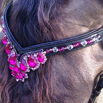 Fancy Fushia Gem Bling Browband for Horse