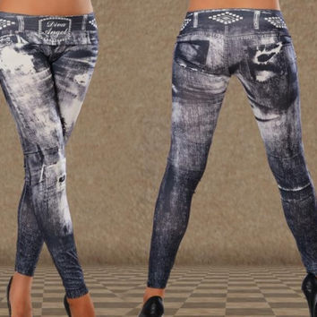 New fashion Women Sexy black Tattoo Stained Leggings Ladies outer wear leggings Faux Denim Slim Stretch Pants pencil pants skinny pants feet pants Spring Summer Autumn Winter Slim Fit Trousers long pants