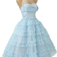 1950s Prom Dress-Strapless 50s Blue Tulle Prom Dress
