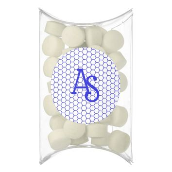Blue pattern. Hexagonal grid. Monogram. Chewing Gum
