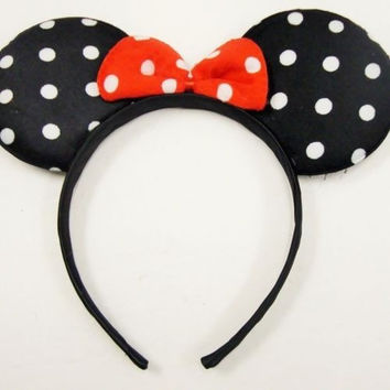 Disney Mickey Minnie Mouse Polka Dot Bow Ears Headband