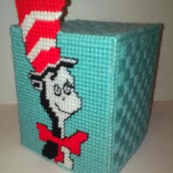 Cat In The Hat Tissue Box Cover, Dr. Seuss Tissue Box, Plastic Canvas Box, Cat In The Hat , Thing 1 and Thing 2, Dr. Seuss Decor, Seuss Gift
