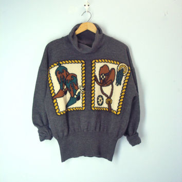 Vintage 80s Western Sweater, Cowboy Boots Hat Sweater, Cowgirl Sweater, Thick Slouchy Sweater, Boots Spurs Saddle Sweater