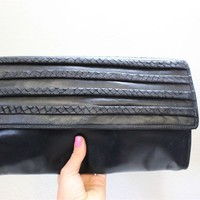 Pappagallo Vintage Oversized Black Leather Clutch Bag