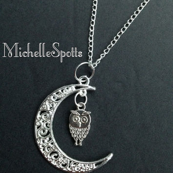 Night Owl Necklace Crescent Moon Necklace Owls Necklace Charm Bracelet