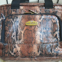Vintage Vanity Cosmetic case. Travel bag. Never Used.  Faux reptile motif.  Richardo of Beverly Hills.