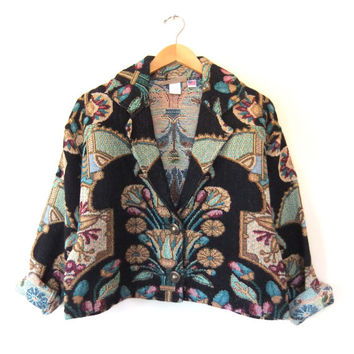 90s Baroque Floral Tapestry Coat - Art Deco Boxy Cropped Carpet Jacket - Woven Slouchy fit Blazer Made in USA - Womens size S / M